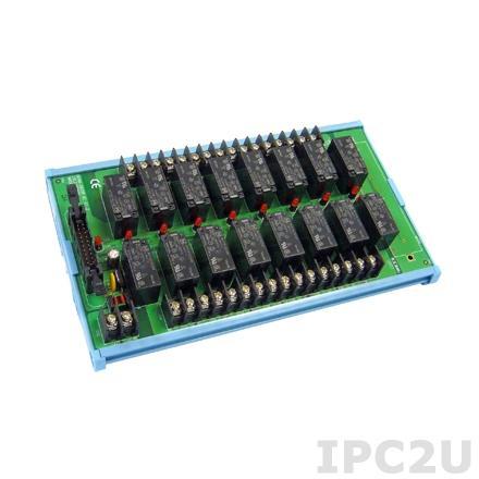 ADAM-3920R-AE Выносная плата, 16 реле, ток до 10 А, 220В, 20-контактный разъем, монтаж на DIN рейку