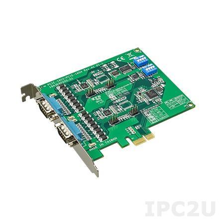 PCIE-1602C-AE PCI Express x1 адаптер 2xRS-232/422/485 разъем DB9 Male, c защитой от перенапряжения и изоляцией