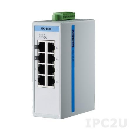 EKI-5528I-AE Неуправляемый коммутатор Ethernet, 8 портов Fast Ethernet, поддержка ProView, SNMP, -40...+75C