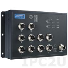 EKI-9510G-2GPL-AE Неуправляемый коммутатор Ethernet, 10 портов M12 PoE, питание 24/48В DC, EN50155