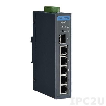 EKI-2706G-1GFPI-AE Неуправляемый коммутатор Ethernet, 4 порта Gigabit Ethernet PoE + 1 порт Gigabit + 1 порт Gigabit SFP, IEEE802.3af/at, 48V~53 VDC, -40..+75C