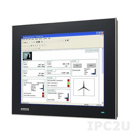 """FPM-7151T-R3AE Промышленный 15"""" TFT LCD монитор с IP65 по передней панели из магниево сплава, XGA 1024x768, резистивный сенсорный антибликовый экран из закаленного стекла (RS-232 & USB), VGA, DP, питание 24В DC (клеммная колодка)"""