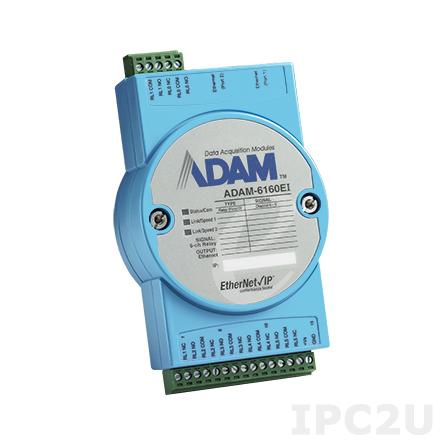 ADAM-6160EI-AE Модуль вывода, 6 каналов дискретного вывода с реле, EtherNet/IP