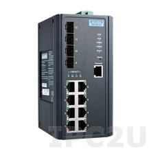 EKI-9612G-4FI-AE Управляемый Ethernet-коммутатор L3, 8 портов Gigabit Ethernet + 4 порта Gigabit SFP , -40...+75C