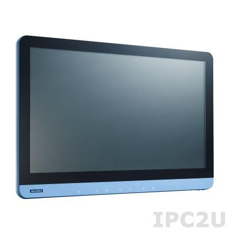 "POC-W242-A11D-ACE Безвентиляторная медицинская рабочая станция 24"" IPS LCD LED, резистивный сенсорный экран, Intel Core i7-4650U 1.7ГГц, 4Гб DDR3, 1x2.5"" SATA, VGA, HDMI, 3xCOM, 6xUSB, 2xLAN, 1xPCIe, 2xMini PCIe, Аудио, адаптер питания 90-260В ACDC 100Вт"