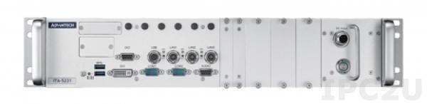"""ITA-5231-L0A1E Промышленный безвентиляторный компьютер для Ж/Д, Intel Celeron G3902E 1.6ГГц, 8Гб DDR4, DVI-I, 3xM12 LAN, 2xDB9 COM, 2xUSB 3.0 Type A, 1xM12 USB 2.0, отсеки до 4x2.5"""" SSD, mSATA, 3x MiniPCIe, 2xSIM, Audio, M12 24В DC-in, -40...+70C"""