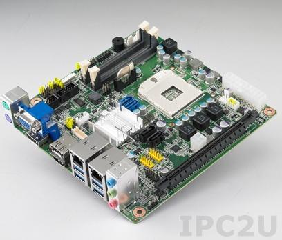 AIMB-273G2-00A1E Процессорная плата Mini-ITX, чипсет QM77, сокет uFC-PGA988 для Intel Core i7/i5/i3/Celeron, до 16Гб DDR3 SO-DIMM, VGA, HDMI, 2xDisplayPort, 2xGb LAN, 2xCOM, 8xUSB, 4xSATA, слоты расширения 1xPCIe x16, 1xMini-PCIe