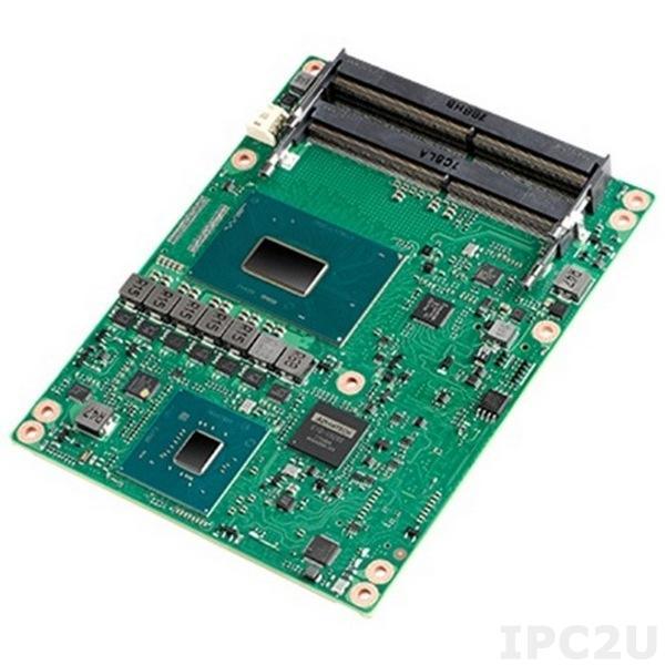 SOM-5899C7QX-U6A1 Процессорная плата COM Express, Intel Core i7-8850H 2.6ГГц, Intel QM370, DDR4 без поддержки ECC, VGA, LVDS, 3xDDI (HDMI/DVI/DisplayPort), GbE LAN, 2xCOM, 4xUSB 3.1, 8xUSB 2.0, 4xSATA 3.0, SMBus, I2C, CAN, GPIO, 1xPCIe x16, 8xPCIe x1, -40...+85C