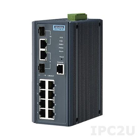 EKI-7710E-2CI-AE Управляемый коммутатор Ethernet, 8 портов RJ-45, 2 комбо порта Gigabit RJ-45/SFP, металлический корпус, IP30, -40...+75C