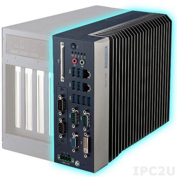 "MIC-7700Q-00A1 Безвентиляторный компактный компьютер с сокетом LGA1151 для Intel Core i3/i5/i7, Intel Q170, DDR4, VGA/DVI, 2xGB LAN, 6xCOM, 8xUSB 3.0, 1xMini-PCIe/SIM, 1xMiniPCIE/mSATA, 1 x 2.5"" HDD, CFast, GPIO, Audio, 9...36В DC, -10...40C"