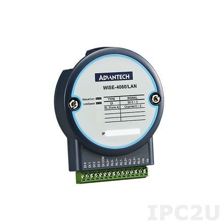 WISE-4060/LAN-AE Модуль ввода-вывода, IEEE 802.3u 10/100Base-T(X), 4хDI, 4 выхода реле