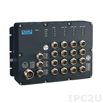 EKI-9516-P0IDH10E Управляемый коммутатор Ethernet, 16 портов M12 Gigabit Ethernet, 12 PoE, IP67, питание 72...110В DC