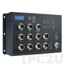 EKI-9510G-2GMPH-AE Управляемый коммутатор Ethernet, 10 портов M12 PoE, питание 72/96/110В DC, EN50155