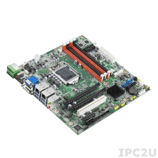 AIMB-502QG2-00A1E Процессорная плата Micro-ATX для Core i3/i5/i7/Pentium, LGA1155, чипсет Q77, до 32Гб DDR3 DIMM, VGA, DVI, HDMI, 2xGbE, 8xSATA, mSATA, 6xCOM, 6xUSB, слоты расширения 1xPCIe x16, 1xPCIe x1, 1xMini-PCIe