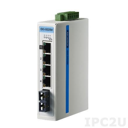 EKI-5525MI-AE Неуправляемый коммутатор Ethernet, 4 порта 10/100Mbps + 1 порт 100FX Multi-mode, SC, -40 ~ +75C