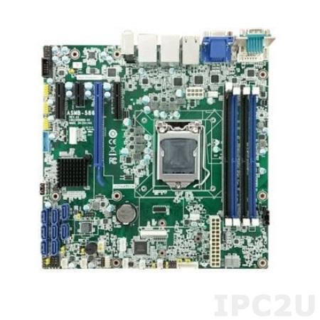 ASMB-586G4-00A1 Серверная плата Micro-ATX, поддержка Intel Core i3/i5/i7 8th Gen Xeon E, LGA1151, 4xDDR4 2133/2400/2666 МГц до 64 ГБ ЕСС, DVI, VGA, HDMI, 2xCOM, 4xUSB 3.1, 4xGbE LAN, 1xSMBus, 8xSATA III, RAID 0,1,5,10, Аудио, питание 12 В DC