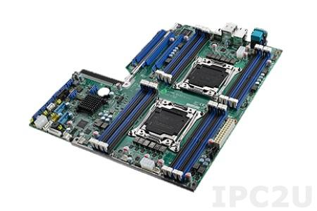 ASMB-913I-00A1E Серверная процесорная плата EATX с поддержкой двух Intel Xeon E5-1600/2600 (v3/v4), LGA2011-R3, Intel С612, до 512 Гб DDR4 DIMM ECC-REG, VGA, 4xGbE LAN IPMI, 2xRS-232, 2xUSB 3.0, 2xUSB 2.0, 8xSATA III, 2xPS/2, 3xPCIex16, SMBus, Audio, питание 12 В DC