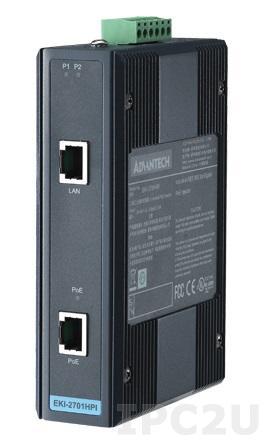 EKI-2701HPI-AE PoE+ инжектор Ethernet, 2 порта IEEE 802.3af/at Gigabit PoE+, 24...48В DC, IP30, -40...+75C