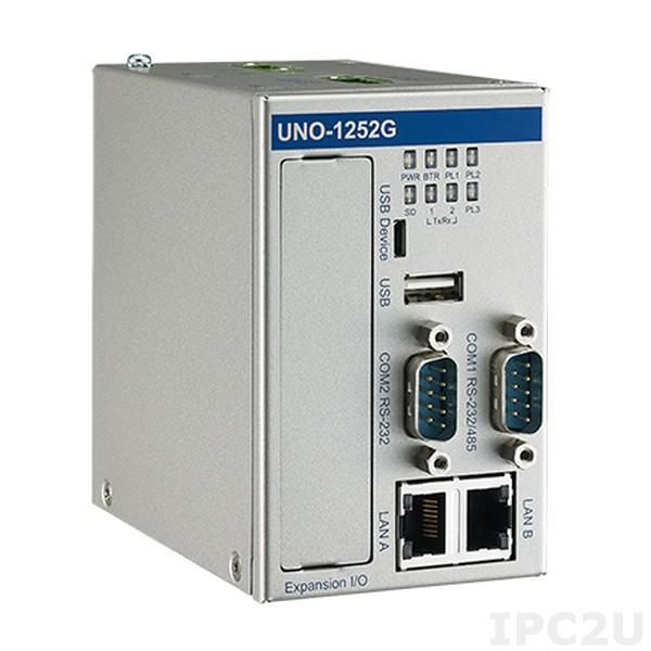 UNO-1252G-Q0AE Встраиваемый компьютер на DIN-рейку, процессор Intel Quark 400МГц, 256Мб RAM, 2xLAN, 2xCOM, 2xUSB, 2xMini PCIe, 8xGPIO, слот 1xSIM, слот 1x Micro SD, 2xMini-PCIe, питание 12/24В DC