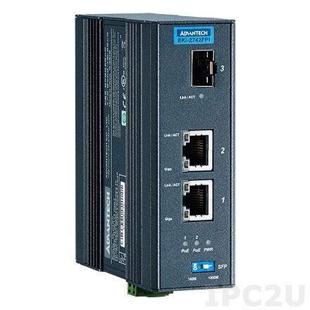 EKI-2742FPI-AE PoE инжектор Gigabit Ethernet, 1 порт SFP, 2 порта PoE 802.3 af/at, 48В, -40...+75С