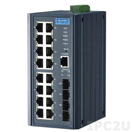 EKI-7720G-4FPI-AE Управляемый PoE коммутатор Ethernet, 16 портов Gigabit Ethernet, 4 порта Gigabit SFP,IEEE802.3af/at, металлический корпус, IP30, -40...+75C
