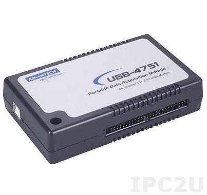 USB-4751-AE Модуль ввода-вывода, 48 настраиваемых каналов DI и DO, USB