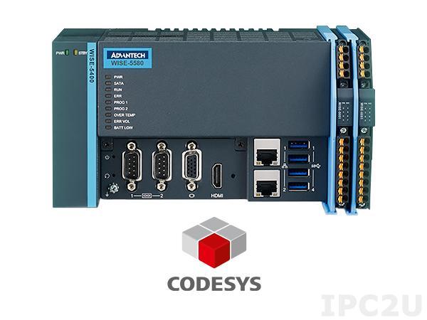 ESRP-SCS-W5580-CR0 Компактный контроллер Softlogic EtherCAT, Intel Celeron 3955U 2.0ГГц, 4Гб DDR4, 64Гб SSD, VGA, HDMI, 2xGbE LAN, 2xRS-232 /422/485, 4xUSB 3.0, питание 24В DC, Win7 32-bit, CODESYS