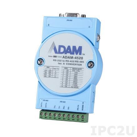 ADAM-4520-F Конвертер RS-232 в RS-422/485, изоляция на стороне RS-232, -10...+70С, 10-30VDC