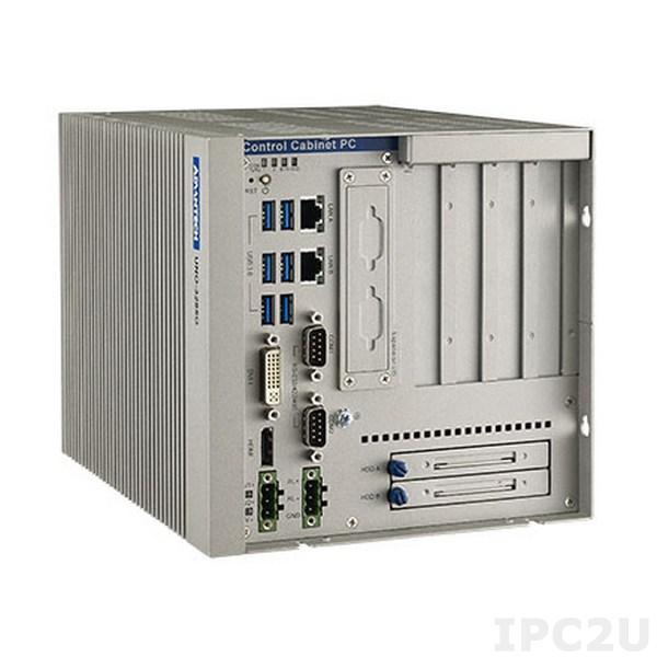 """UNO-3285G-634AE Встраиваемый компьютер c Intel Core i3-6102E 1.9ГГц, 8Гб DDR4 RAM, DVI-I, HDMI, 2xGB LAN, 2xRS-232/422/485, 1xRS-422/485, 6xUSB 3.0, 2x PCIex8, 2x PCI, 2x mPCIe, mSATA, 2x 2.5"""" SATA HDD (RAID 0/1), 10...36В DC-in"""