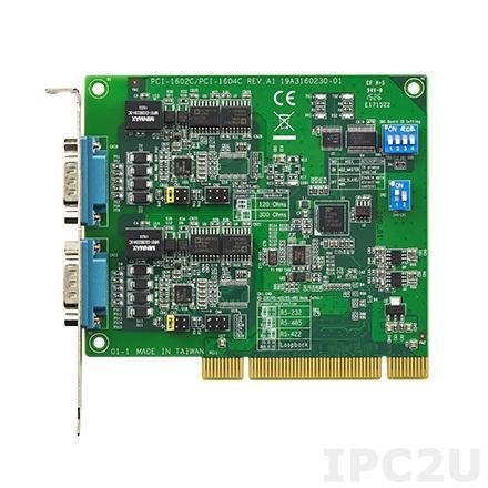 PCI-1602C-AE Universal PCI адаптер 2xRS-232/422/485 разъем DB9 Male, c защитой от перенапряжения и изоляцией