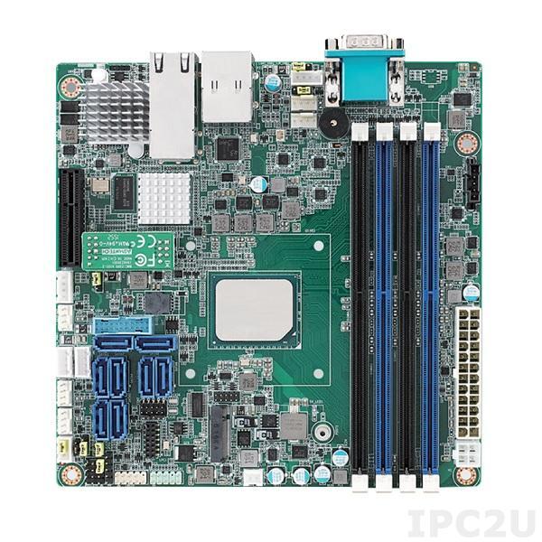 ASMB-260T2-22A1 Серверная процессорная плата Mini-ITX c Intel Atom C3758, 4xDDR4 до 64 Гб UDIMM или до 128 Гб RDIMM, 1xVGA, 2x10GbE LAN, 1xGbE LAN, IPMI, 8xSATAIII, 1xM.2, 3xUSB 3.0, 1xPCIe x4, Аудио, напряжение питания 12 В DC