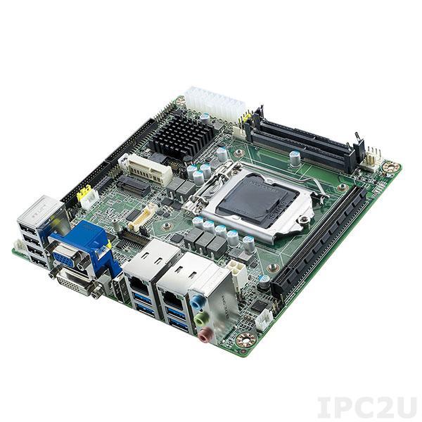 AIMB-205G2-00A1E Процессорная плата Mini-ITX, Сore i3/i5/i7, LGA1151, до 32Гб DDR4 SO-DIMM, DP/DVI/VGA/LVDS, 8xCOM, 2xGbe LAN, 4xUSB 3.0, 6xUSB 2.0, M.2, MiniPCIe, PCIe x16