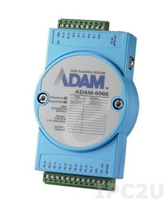 ADAM-6066-D Модуль ввода-вывода, 6 каналов дискретного ввода, 6 каналов дискретного вывода с реле, 1xEthernet, Modbus TCP